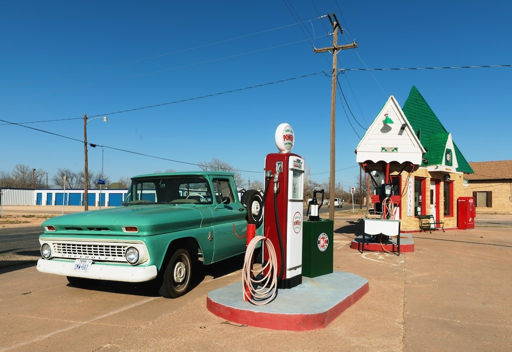 old fashioned gas station