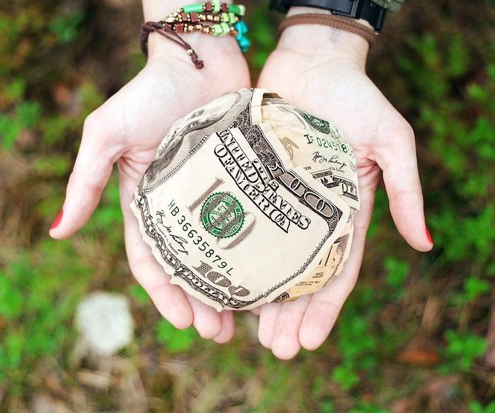 money in a ball