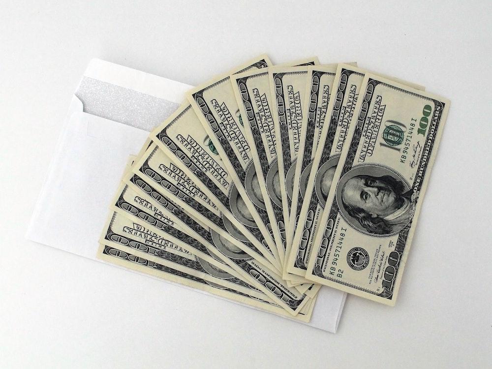 cash on envelope