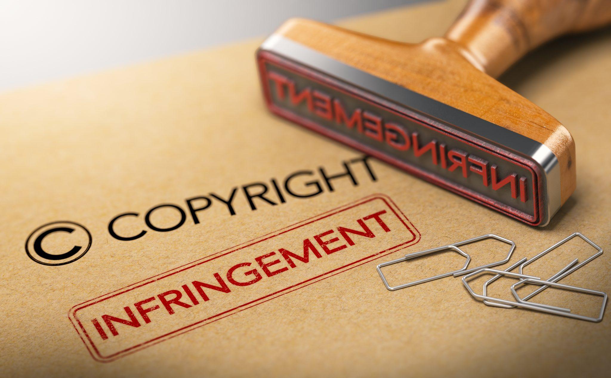 Infringement stamp on copyright folder