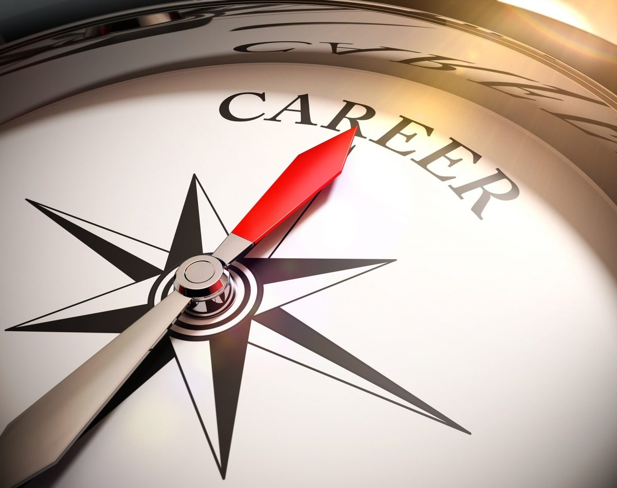 Compass pointing at career