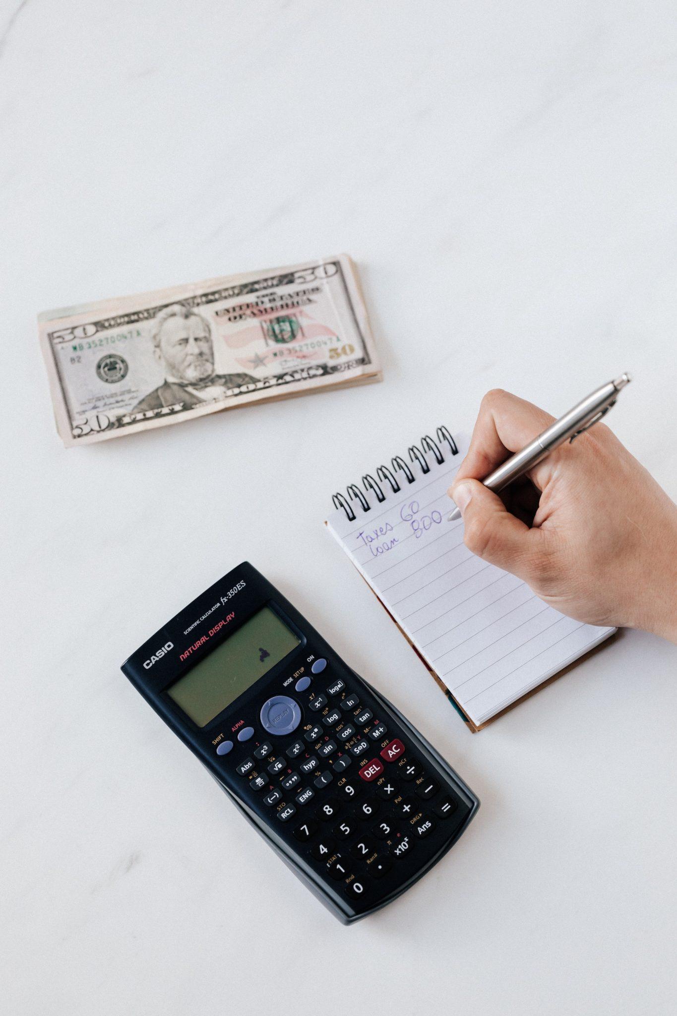 money, calculator, notes