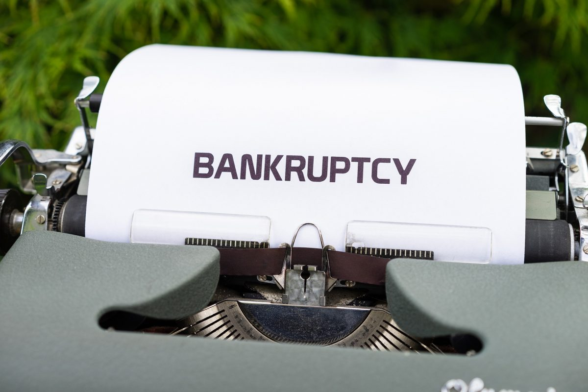 Bankruptcy typed on a piece of paper
