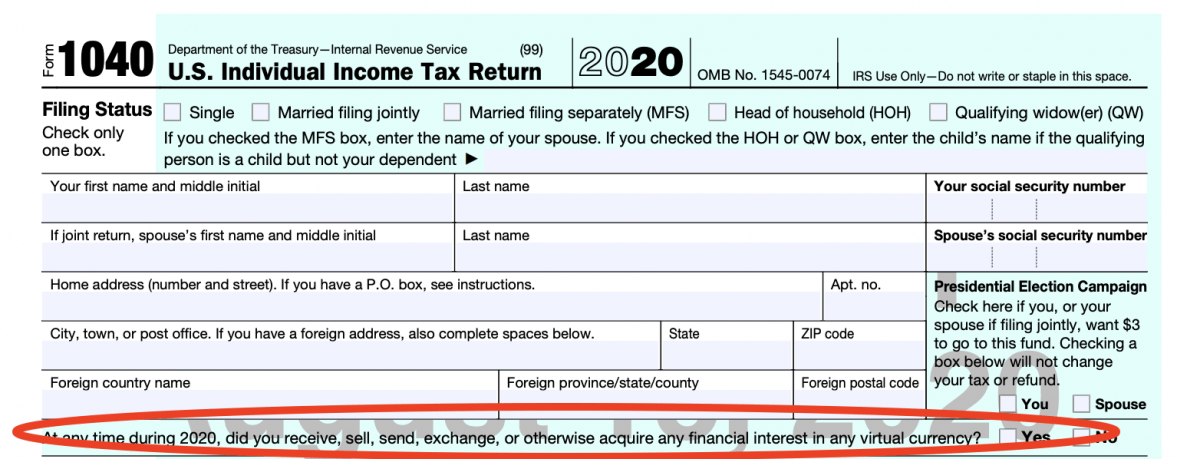 Form 1040 with line about virtual currency circled